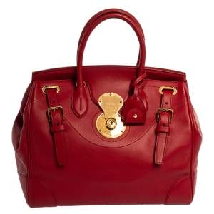 Ralph Lauren Red Leather Ricky 32 Tote
