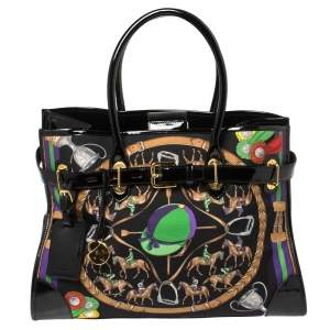 Ralph Lauren Black Printed Canvas and Patent Leather Buckle Tote