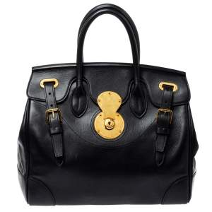 Ralph Lauren Black Soft Leather Ricky 33 Tote