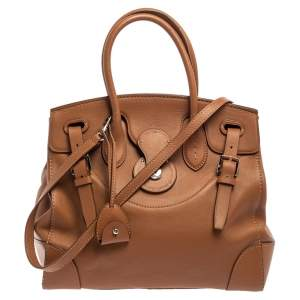 Ralph Lauren Brown Soft Leather Ricky 33 Tote