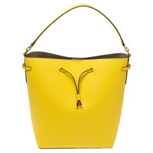 Ralph Lauren Yellow Leather Debby Bucket Drawstring Bag