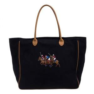 Ralph Lauren Black/Brown Leather Canvas Shopper Tote