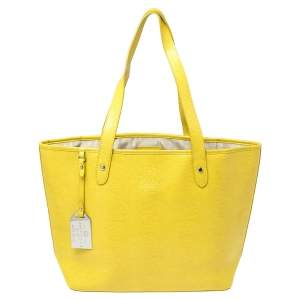 Ralph Lauren Yellow Lizard Embossed Leather Tote
