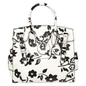 حقيبة رالف لورين ريكي سوفت جلد أبيض/أسود مورد