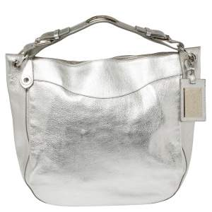 Ralph Lauren Silver Leather Buckle Handle Hobo