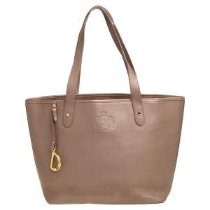 Ralph Lauren Metallic Dark Beige Leather Logo Embossed Tote