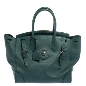 Ralph Lauren Green Leather Medium Ricky Tote