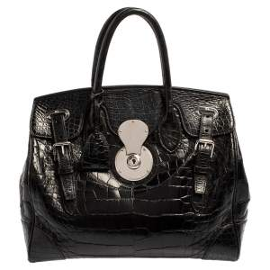 Ralph Lauren Black Alligator Ricky 33 Tote
