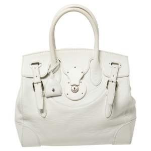 Ralph Lauren White Soft Leather Ricky Tote