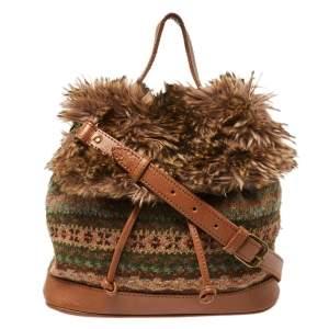 Ralph Lauren Multicolor Faux Fur Flap And Crochet Drawstring Bucket Bag