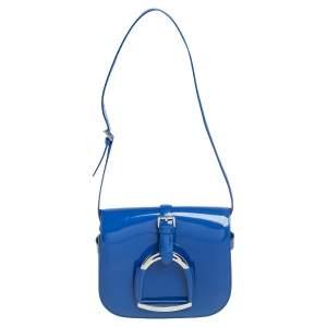 Ralph Lauren Blue Patent Leather Stirrup Flap Shoulder Bag