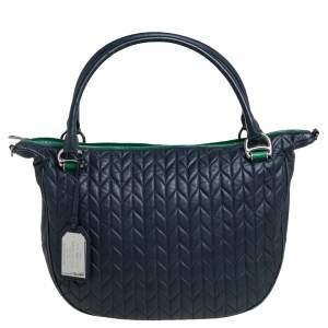 Ralph Lauren Blue Quilted Leather Zip Satchel
