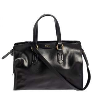 Ralph Lauren Black Leather Zip Satchel