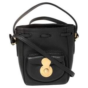 Ralph Lauren Black Leather Ricky Drawstring Bucket Bag