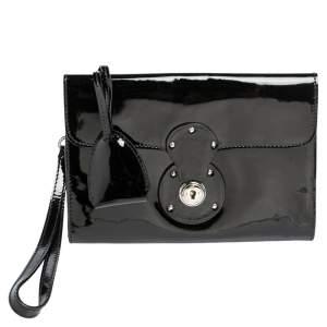 Ralph Lauren Black Soft Leather Mini Ricky Wristlet Clutch