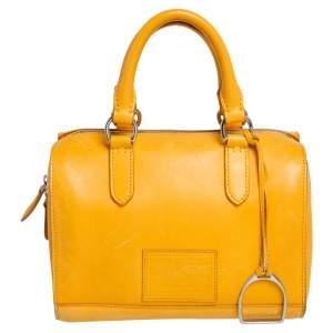 Ralph Lauren Mustard Leather Stirrup Boston Bag