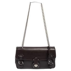 Ralph Lauren Dark Brown Leather Ricky ID Chain Shoulder Bag