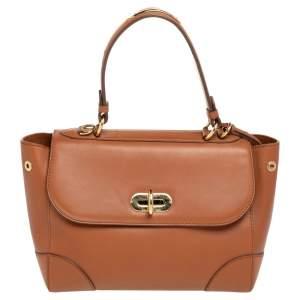 Ralph Lauren Brown Leather Tiffin 27 Top Handle Bag