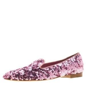 Ralph Lauren Pink Sequin Embellished Quintessa Pewter Smoking Slippers Size 37