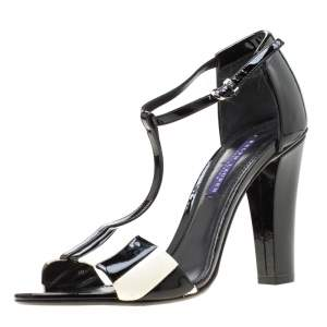 Ralph Lauren Monochrome Stripes Patent Leather T-Strap Sandals Size 40