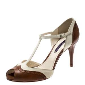 Ralph Lauren Cognac Brown Leather And Cream Suede Arianna Peep Toe T-Strap Sandals Size 39