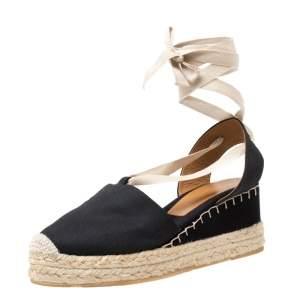 Ralph Lauren Black Canvas Uma Espadrille Wedge Ankle Wrap Platform Sandals Size 41