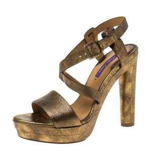 Ralph Lauren Metallic Gold Leather Estrid Platform Ankle Strap Sandals Size 37.5