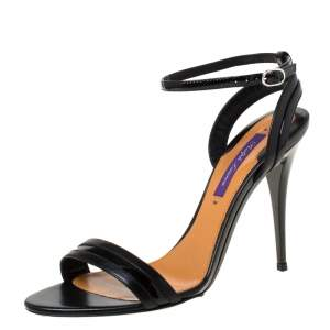 Ralph Lauren Black Leather Open Toe Ankle Strap Sandals Size 37