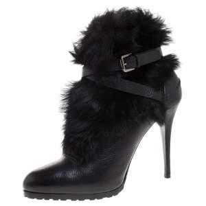 Ralph Lauren Black Leather and Faux Fur Vivian Ankle Boots Size 40
