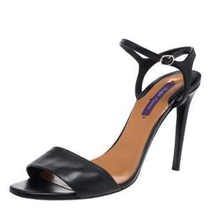 Ralph Lauren Black Leather Ankle Strap Sandals Size 41