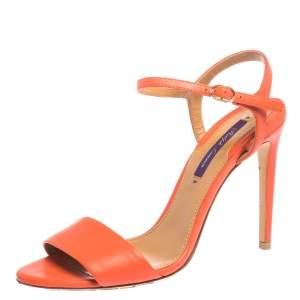 Ralph Lauren Orange Leather Open Toe Ankle Strap Sandals Size 37