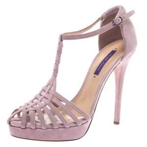 Ralph Lauren Pink Suede Leather T Strap Platform Sandals Size 40