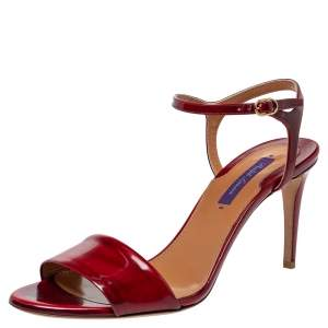 Ralph Lauren Red Patent Leather Ankle Strap Sandals Size 40