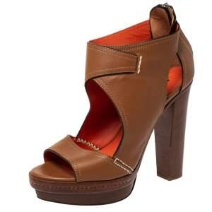 Ralph Lauren Tan Cut Out Leather Platform Sandals Size 37.5