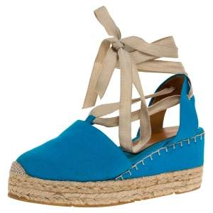 Ralph Lauren Blue Canvas Uma Espadrille Wedge Ankle Wrap Platform Sandals Size 39
