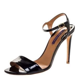 Ralph Lauren Black Patent Leather Ankle Strap Sandals Size 38.5