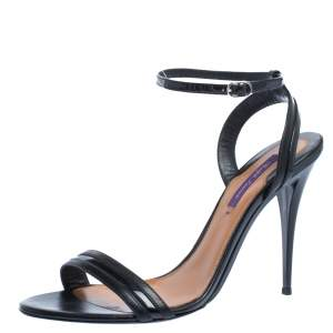 Ralph Lauren Black Leather And Patent Open Toe Ankle Strap Sandals Size 40.5