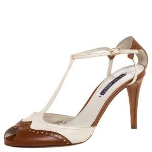 Ralph Lauren Two-Tone Brogue Leather Peep Toe Ankle Strap Sandals Size 40.5