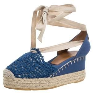 Ralph Lauren Blue Crochet Fabric Uma Espadrille Wedge Ankle Wrap Platform Sandals Size 37