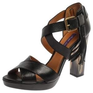 Ralph Lauren Black Leather Criss Cross Ankle Strap Sandals Size 38