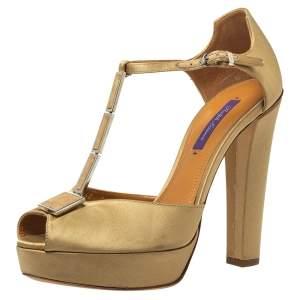 Ralph Lauren Beige Satin Metal  T Strap Platform Sandals Size 40