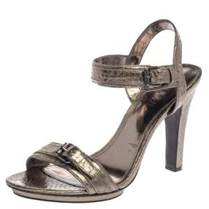 Ralph Lauren Silver Python Embossed Leather Ankle Strap Sandals Size 38