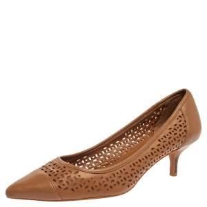 Ralph Lauren Brown Leather Cap-Toe Pumps Size 39.5