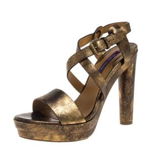 Ralph Lauren Two Tone Leather Estrid Platform Ankle Strap Sandals Size 39.5