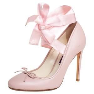 Ralph Lauren Pink Leather Ankle Wrap Pumps Size 36