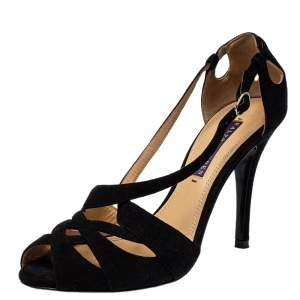 Ralph Lauren Black Suede Sandals Size 37