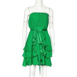 Rebecca Taylor Green Textured Silk Ruffled Tequilla Bingo Mini Dress M