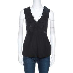 Rebecca Taylor Black Stretch Silk Ruffle Trim Sleeveless Top S