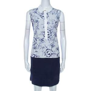 Rebecca Taylor Bicolor Floral Print Silk Tunic Dress S