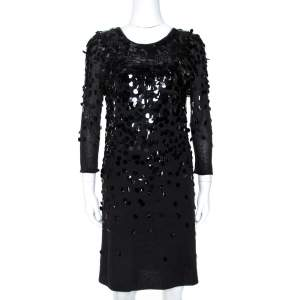 Rebecca Taylor Black Knit Sequin Embellished Mini Dress L